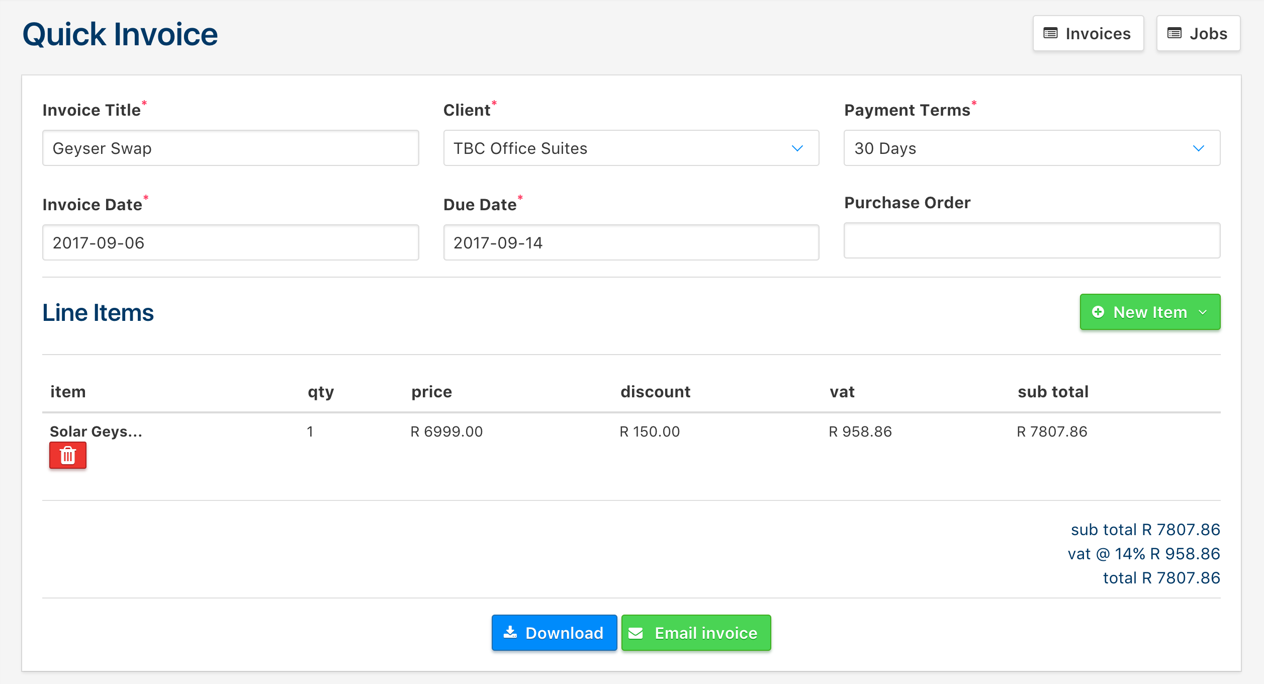 Clica Docs Quick Invoices - Quick invoice